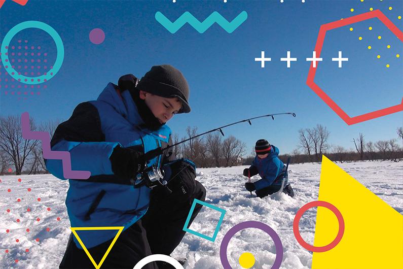 Deux enfants pêchent sur la glace (des formes géographiques colorées superposent la photo)